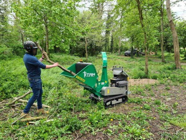 GL&D Titan Tracked Bio Woodchipper working in Somerset