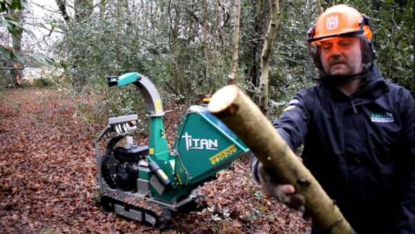 GL&D Titan Tracked Woodchipper working in Norfolk with large wood