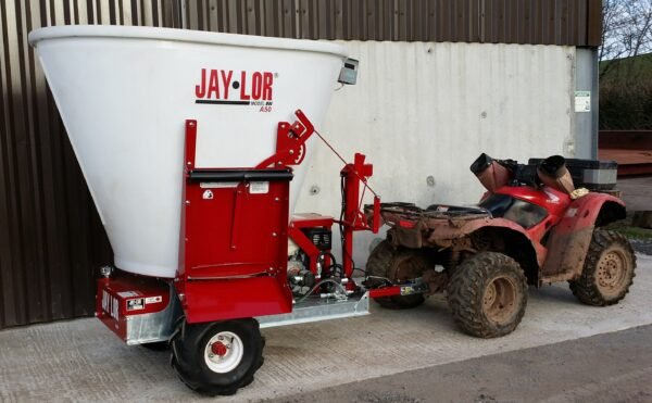 Jaylor A5050 Trailed Mini Mixer Wagon behind ATV