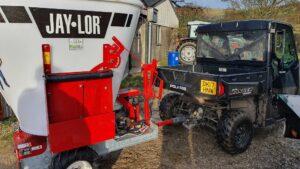 Jaylor A5050 Trailed Mini TMR Mixer Wagon behind Gator