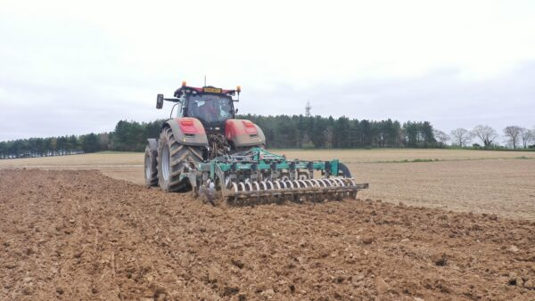 Nardi Gladiator FAST Combination Cultivator working on a CASE 300 Tractor in UK