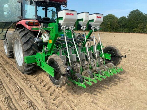 SFOGGIA Calibra Precision Vegetable Drill working in Norfolk UK